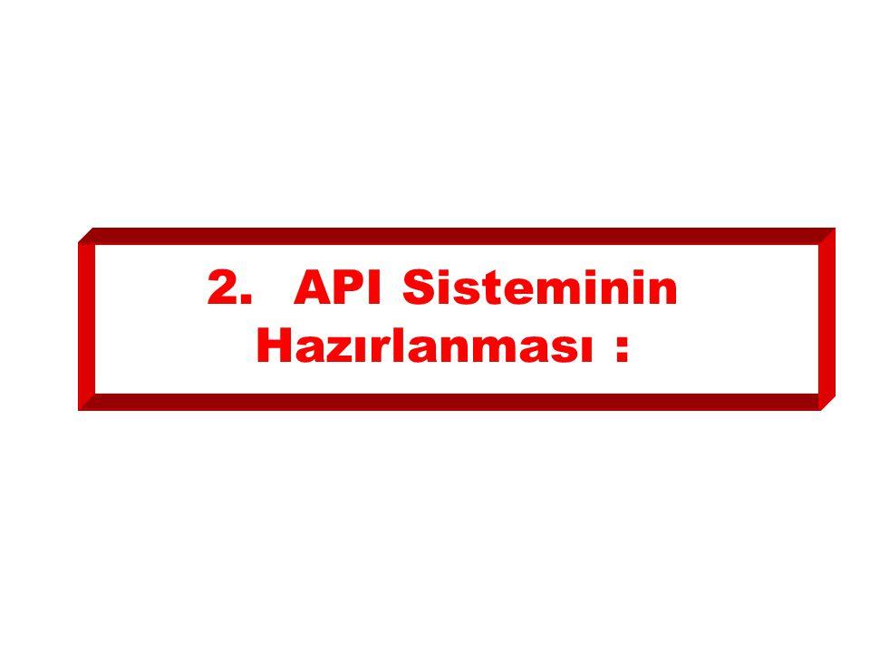 2. API Sisteminin Hazırlanması :