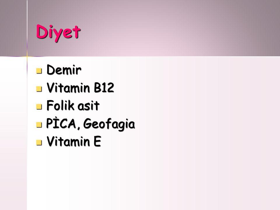 Diyet Demir Vitamin B12 Folik asit PİCA, Geofagia Vitamin E