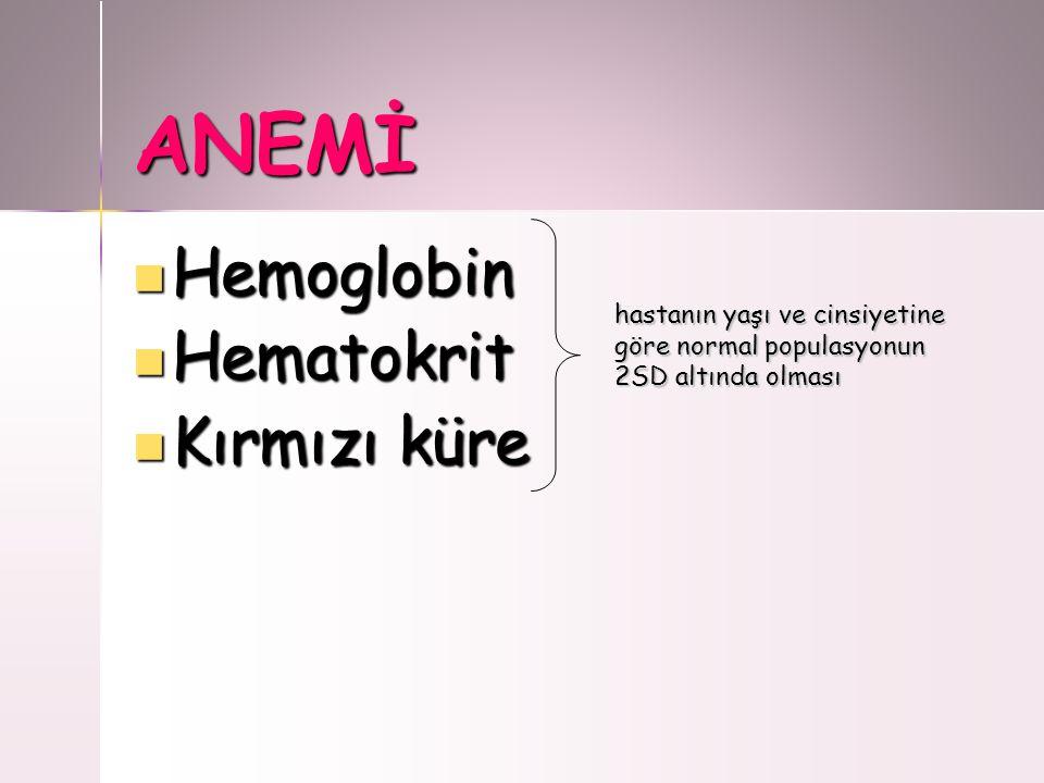 ANEMİ Hemoglobin Hematokrit Kırmızı küre