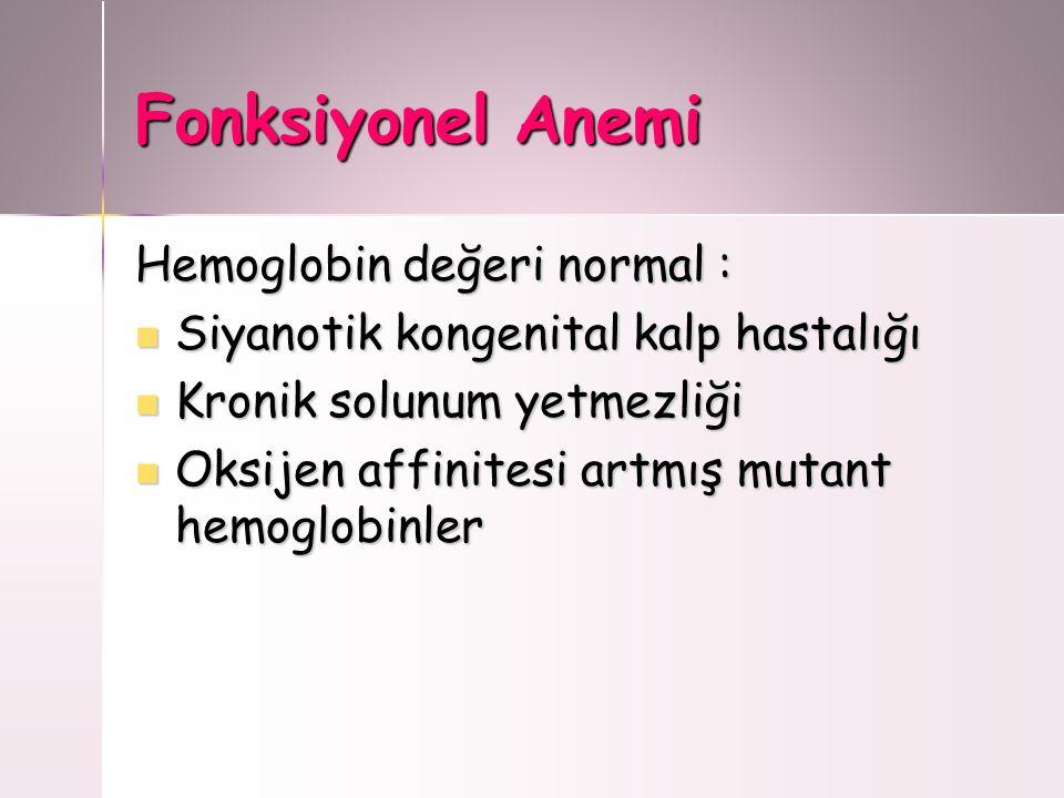 Fonksiyonel Anemi Hemoglobin değeri normal :