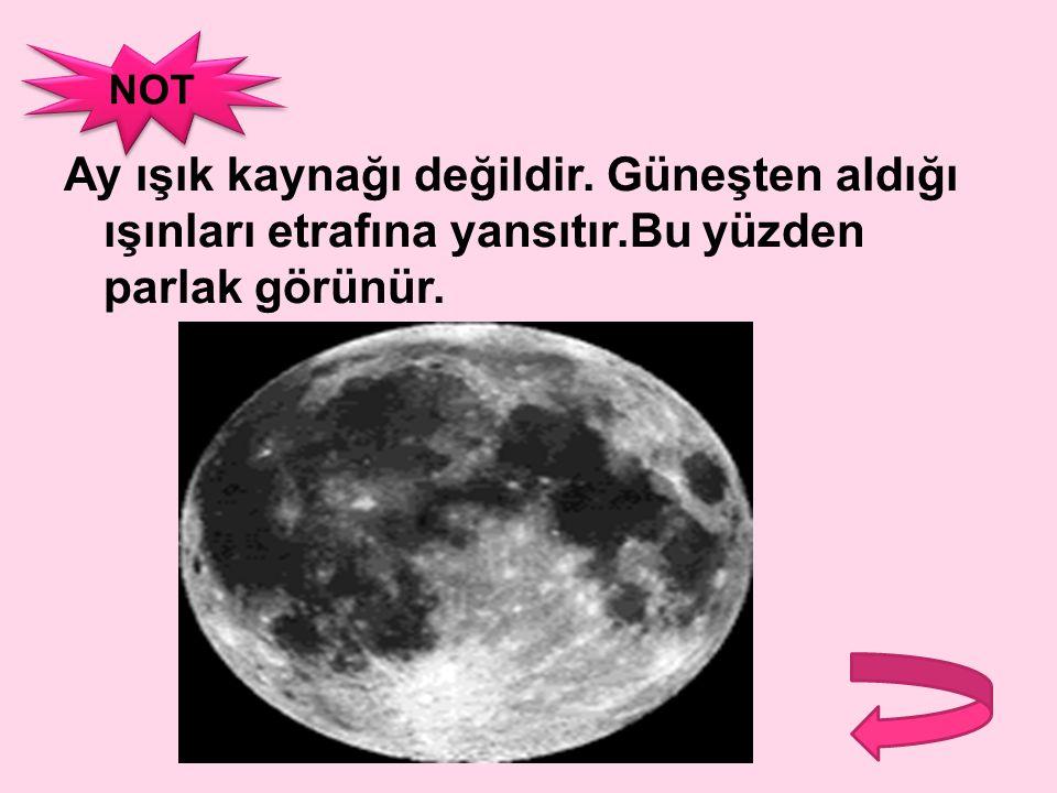 NOT Ay ışık kaynağı değildir. Güneşten aldığı ışınları etrafına yansıtır.Bu yüzden parlak görünür.