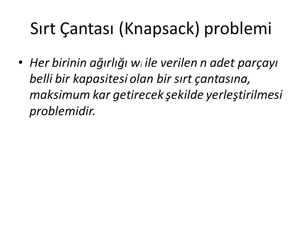 Sırt Çantası (Knapsack) problemi