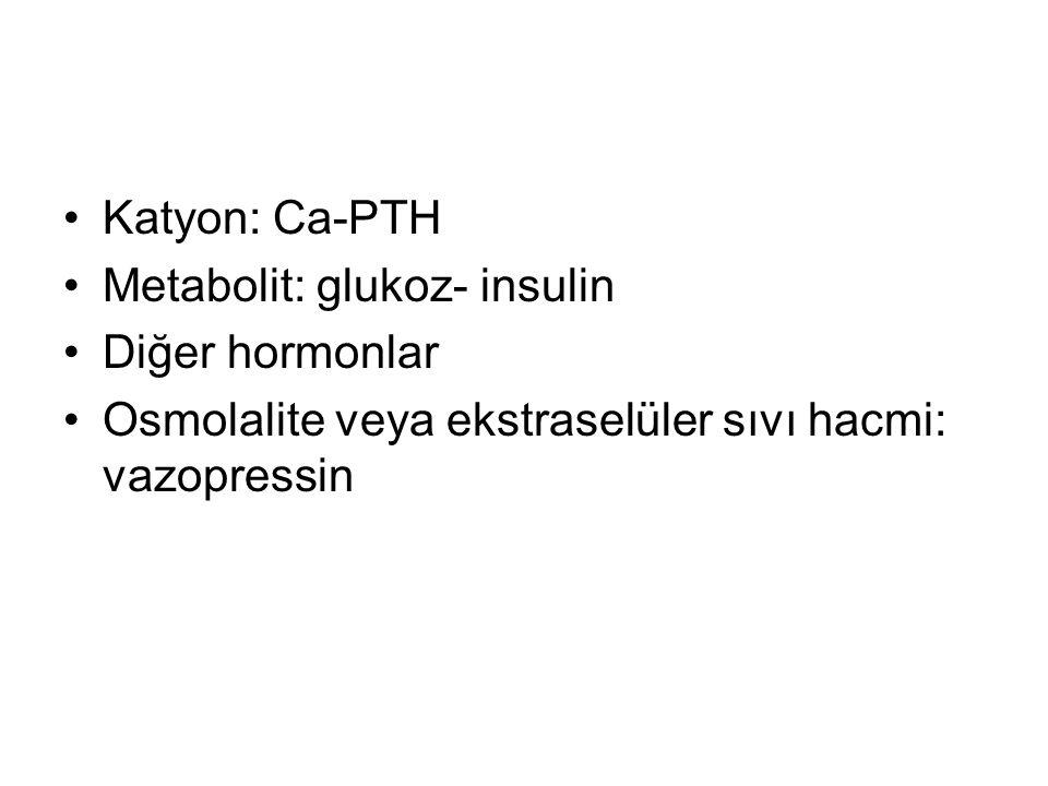 Katyon: Ca-PTH Metabolit: glukoz- insulin. Diğer hormonlar.