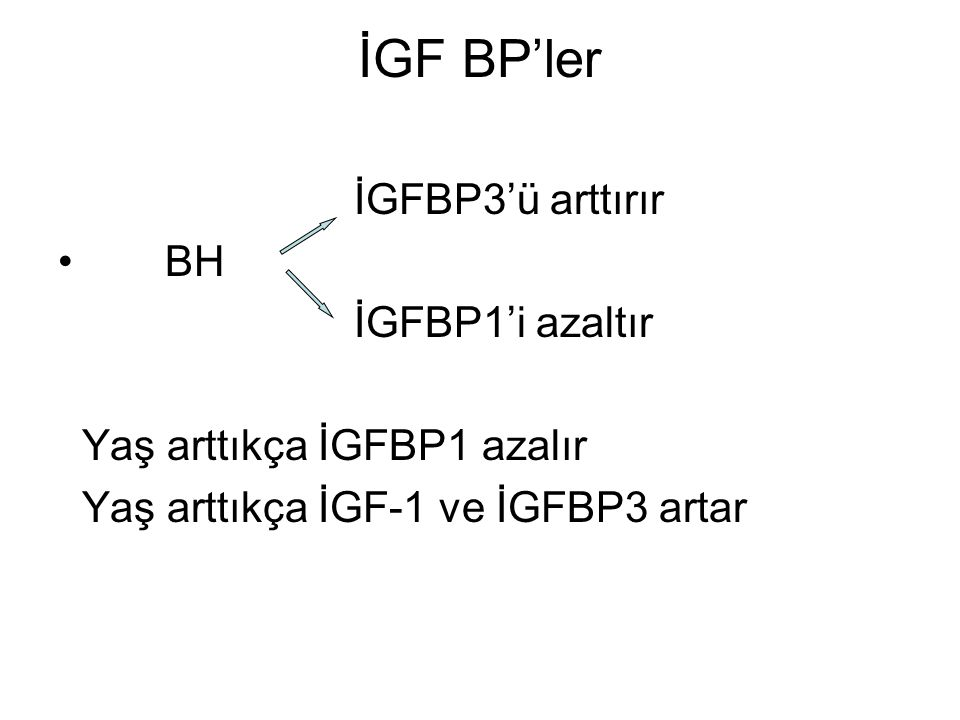 İGF BP'ler İGFBP3'ü arttırır BH İGFBP1'i azaltır