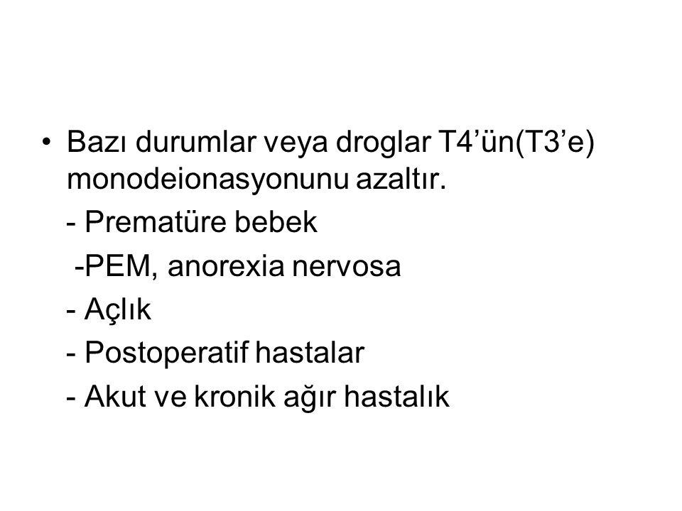 Bazı durumlar veya droglar T4'ün(T3'e) monodeionasyonunu azaltır.