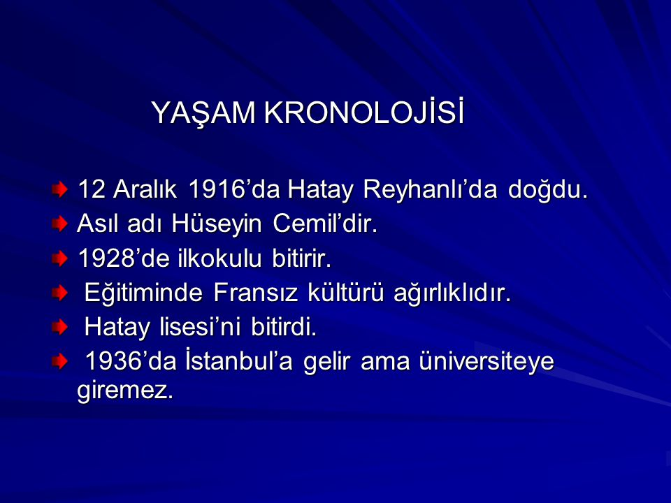 YAŞAM KRONOLOJİSİ 12 Aralık 1916'da Hatay Reyhanlı'da doğdu.