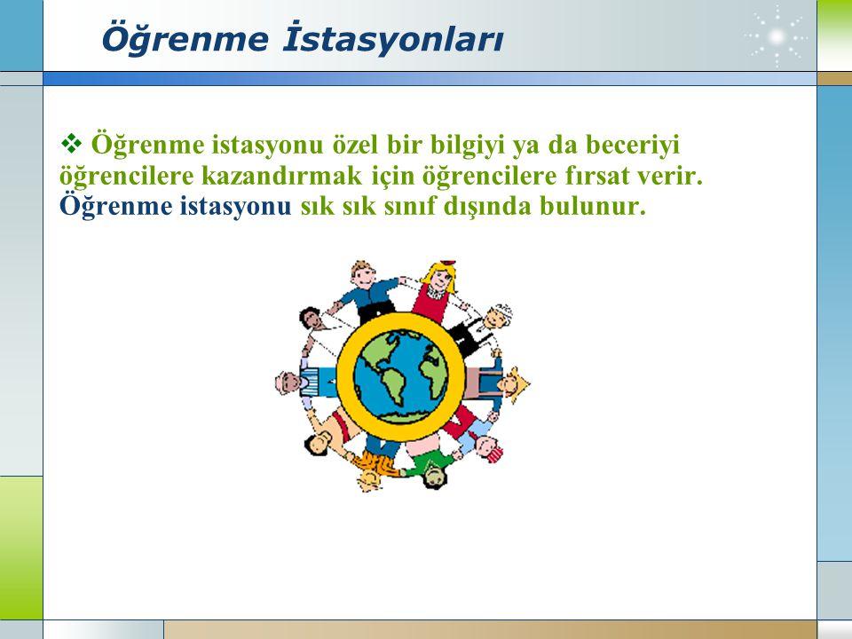 Öğrenme İstasyonları Öğrenme istasyonu özel bir bilgiyi ya da beceriyi
