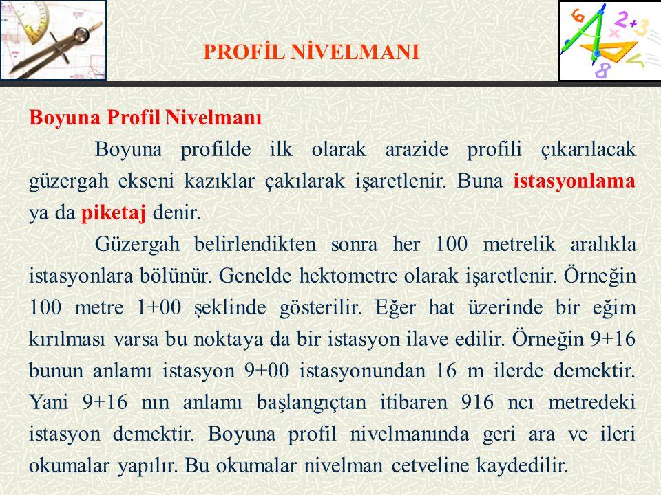 PROFİL NİVELMANI Boyuna Profil Nivelmanı.