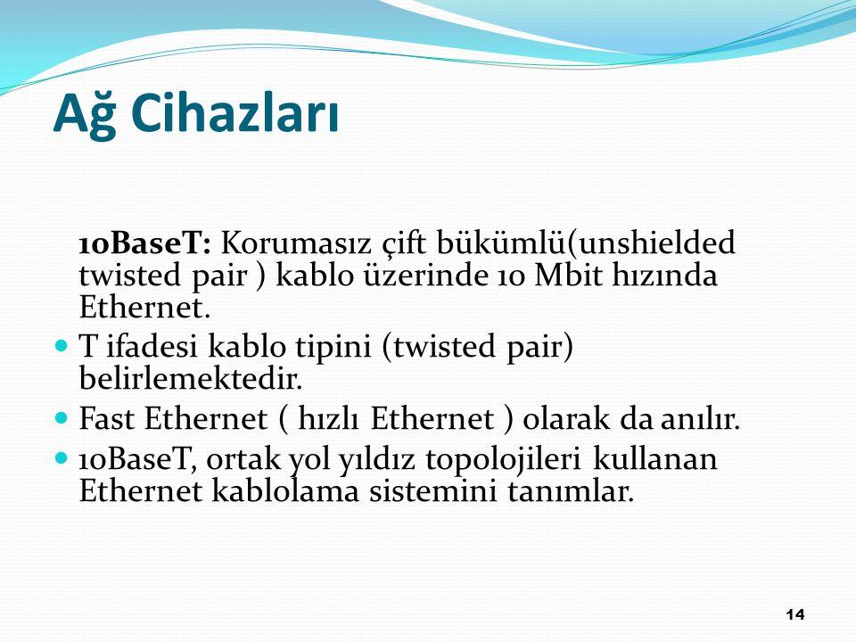Ağ Cihazları 10BaseT: Korumasız çift bükümlü(unshielded twisted pair ) kablo üzerinde 10 Mbit hızında Ethernet.