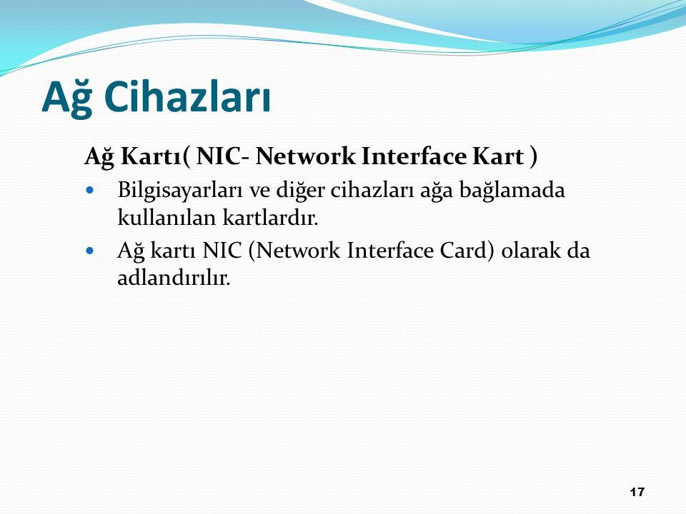 Ağ Cihazları Ağ Kartı( NIC- Network Interface Kart )