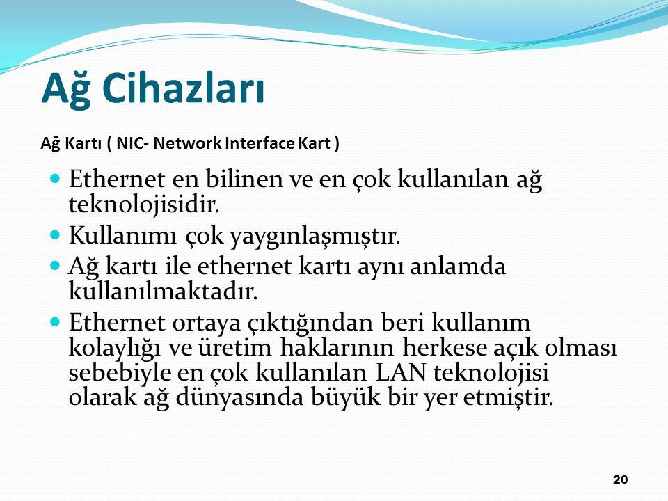 Ağ Cihazları Ağ Kartı ( NIC- Network Interface Kart ) Ethernet en bilinen ve en çok kullanılan ağ teknolojisidir.