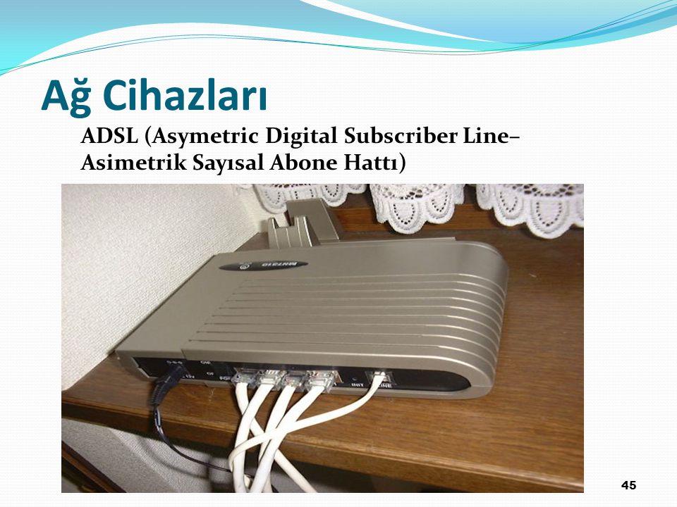 Ağ Cihazları ADSL (Asymetric Digital Subscriber Line–Asimetrik Sayısal Abone Hattı) 45