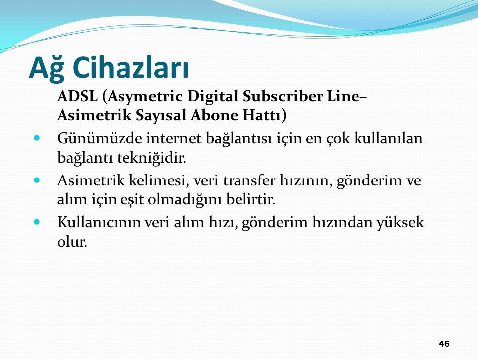 Ağ Cihazları ADSL (Asymetric Digital Subscriber Line–Asimetrik Sayısal Abone Hattı)