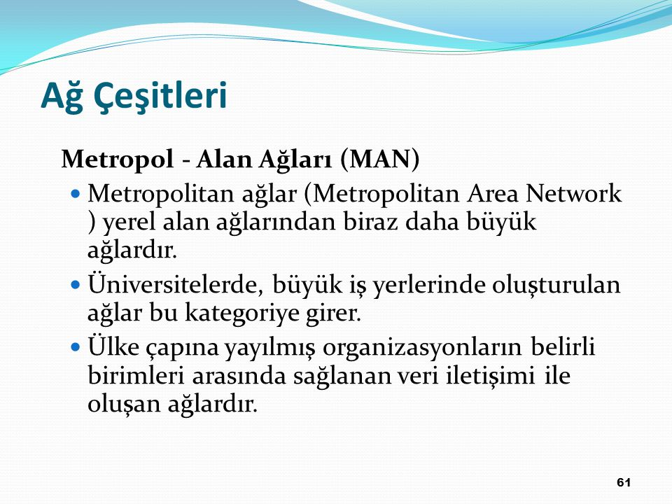 Ağ Çeşitleri Metropol - Alan Ağları (MAN)