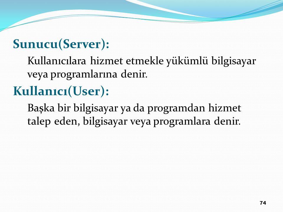 Sunucu(Server): Kullanıcı(User):