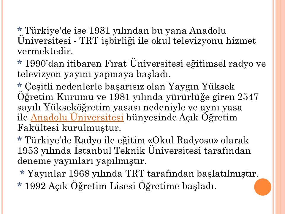 * Türkiye de ise 1981 yılından bu yana Anadolu Üniversitesi - TRT işbirliği ile okul televizyonu hizmet vermektedir.