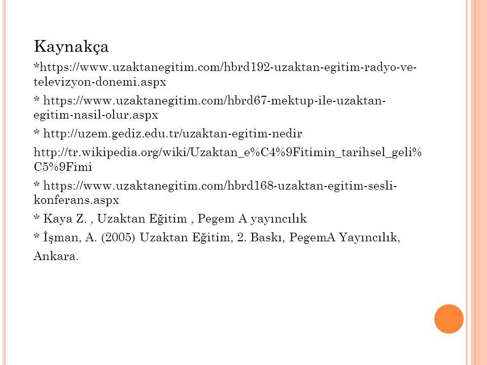 Kaynakça *https://www.uzaktanegitim.com/hbrd192-uzaktan-egitim-radyo-ve- televizyon-donemi.aspx.