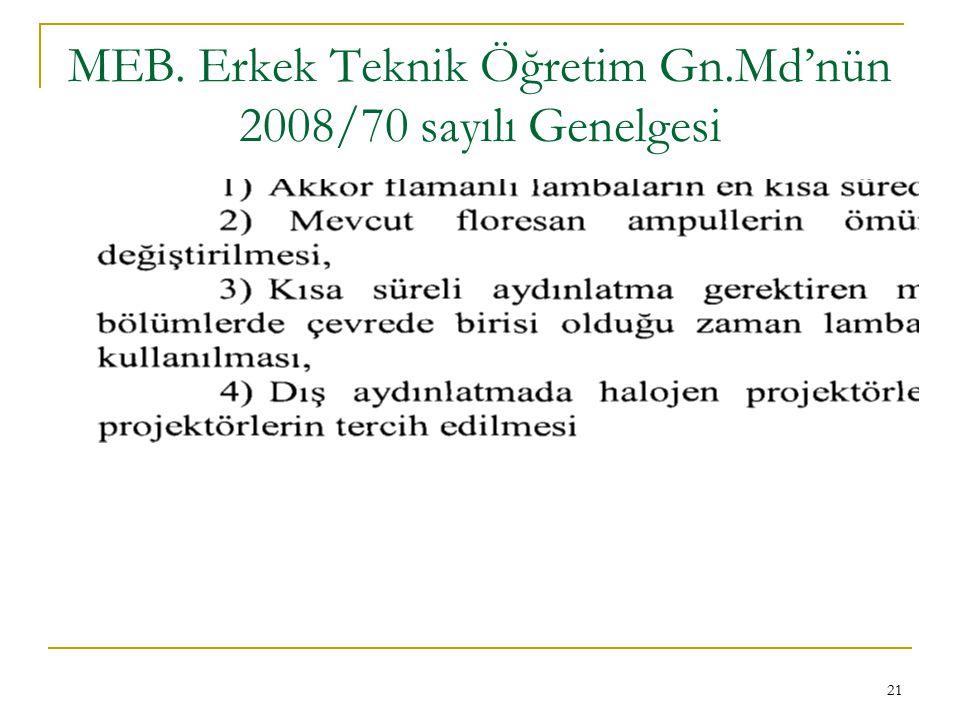 MEB. Erkek Teknik Öğretim Gn.Md'nün 2008/70 sayılı Genelgesi