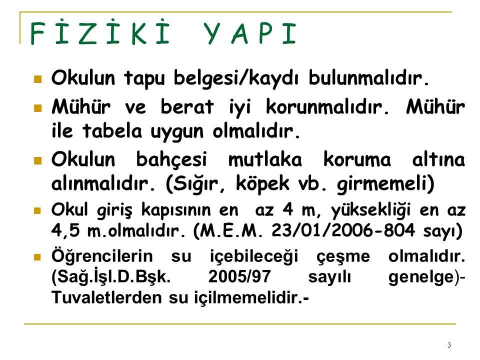 F İ Z İ K İ Y A P I Okulun tapu belgesi/kaydı bulunmalıdır.