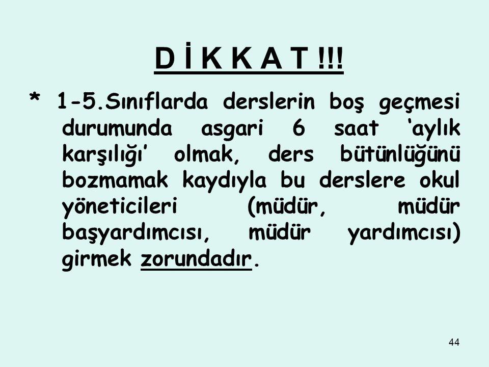 D İ K K A T !!!