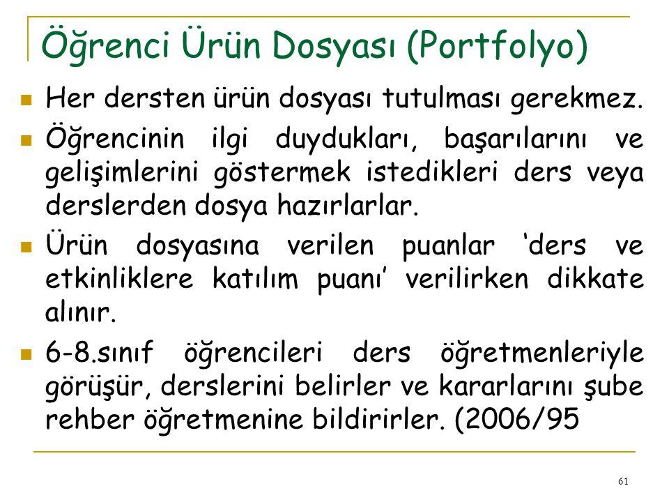 Öğrenci Ürün Dosyası (Portfolyo)