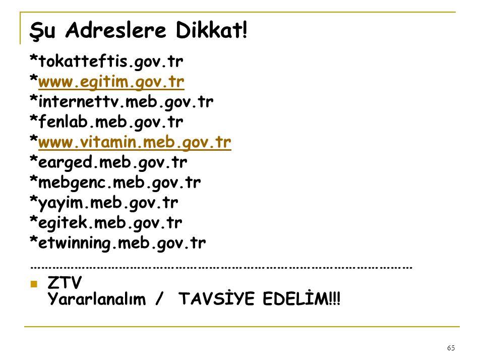 Şu Adreslere Dikkat! *tokatteftis.gov.tr *www.egitim.gov.tr