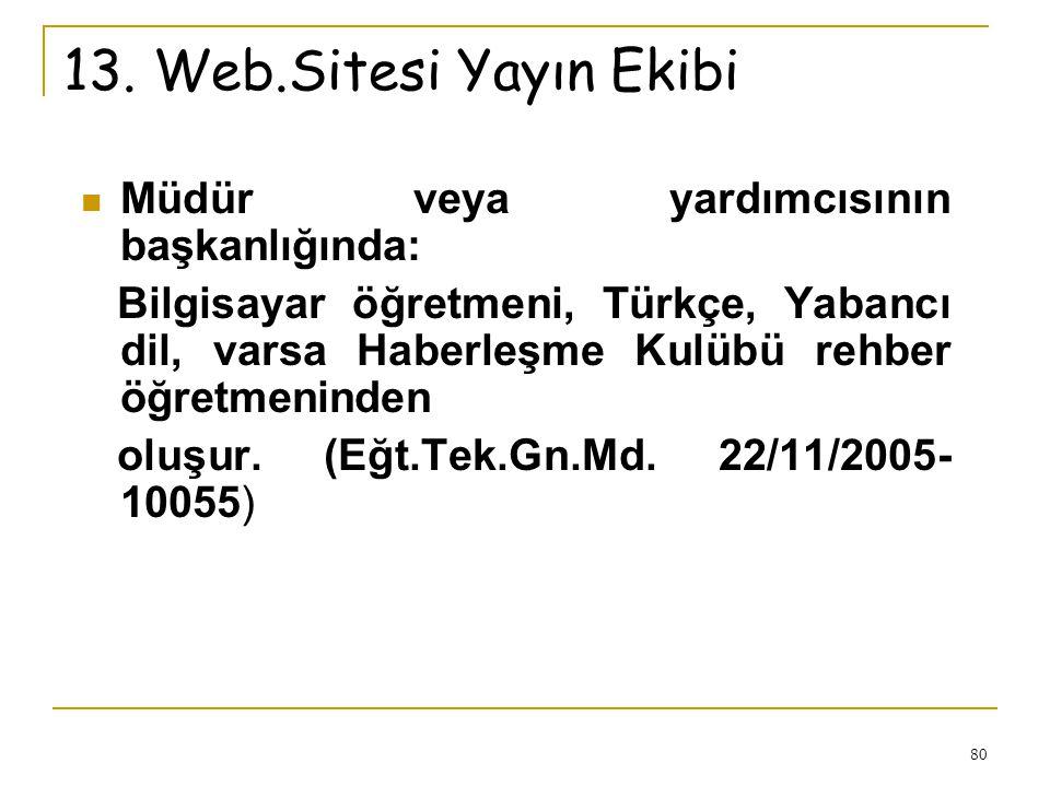 13. Web.Sitesi Yayın Ekibi Müdür veya yardımcısının başkanlığında: