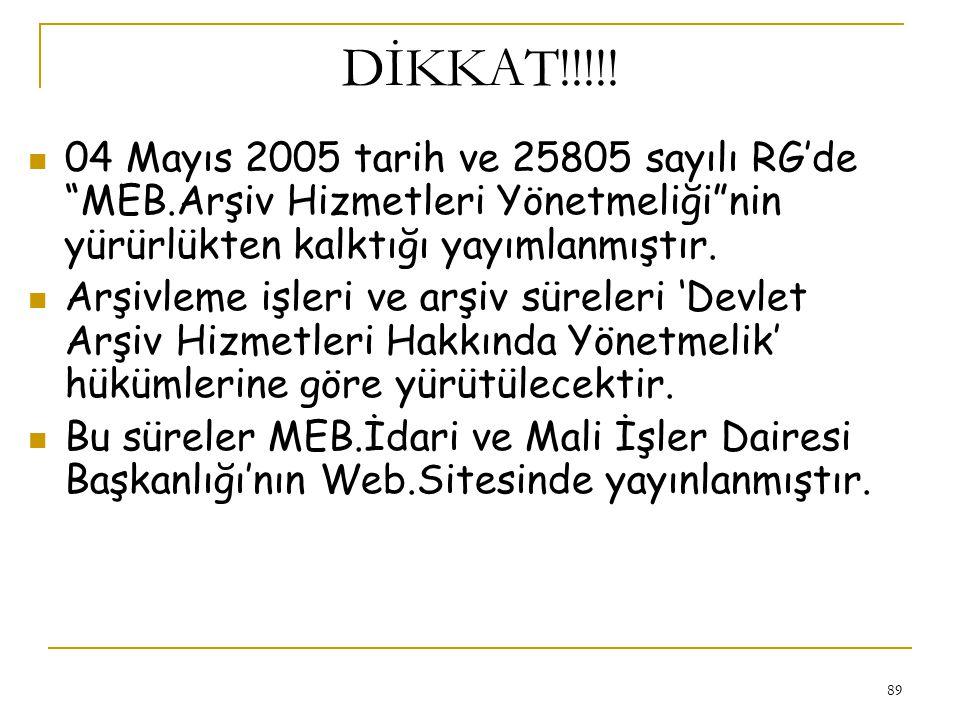 DİKKAT!!!!! 04 Mayıs 2005 tarih ve 25805 sayılı RG'de MEB.Arşiv Hizmetleri Yönetmeliği nin yürürlükten kalktığı yayımlanmıştır.