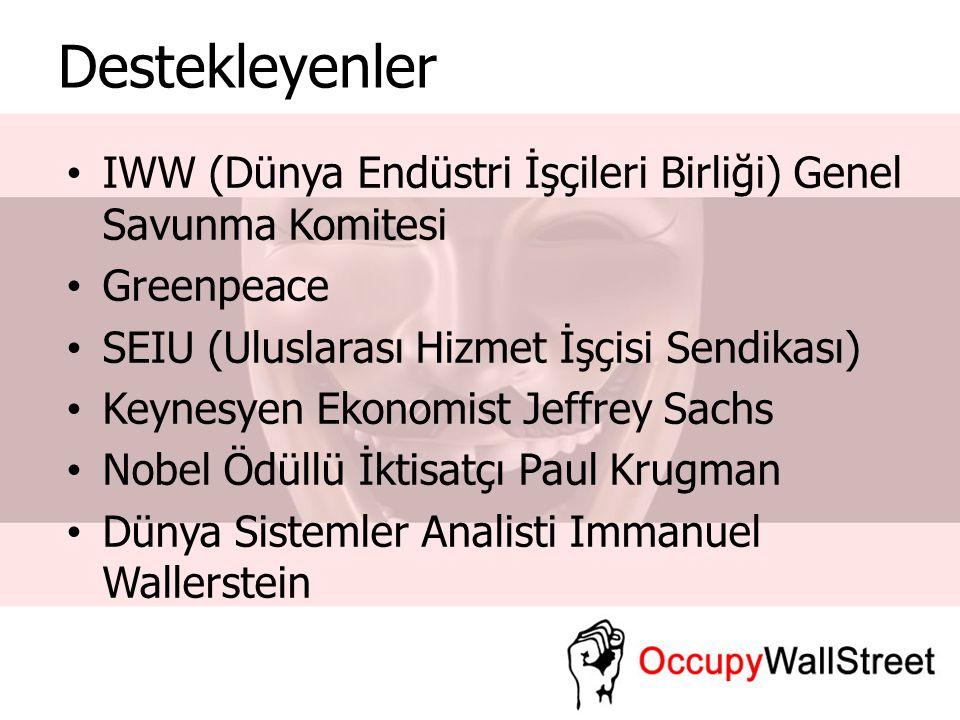 Destekleyenler IWW (Dünya Endüstri İşçileri Birliği) Genel Savunma Komitesi. Greenpeace. SEIU (Uluslarası Hizmet İşçisi Sendikası)