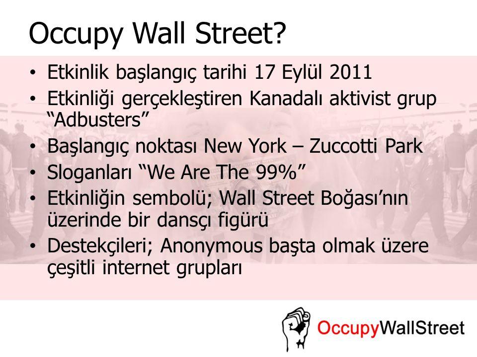 Occupy Wall Street Etkinlik başlangıç tarihi 17 Eylül 2011