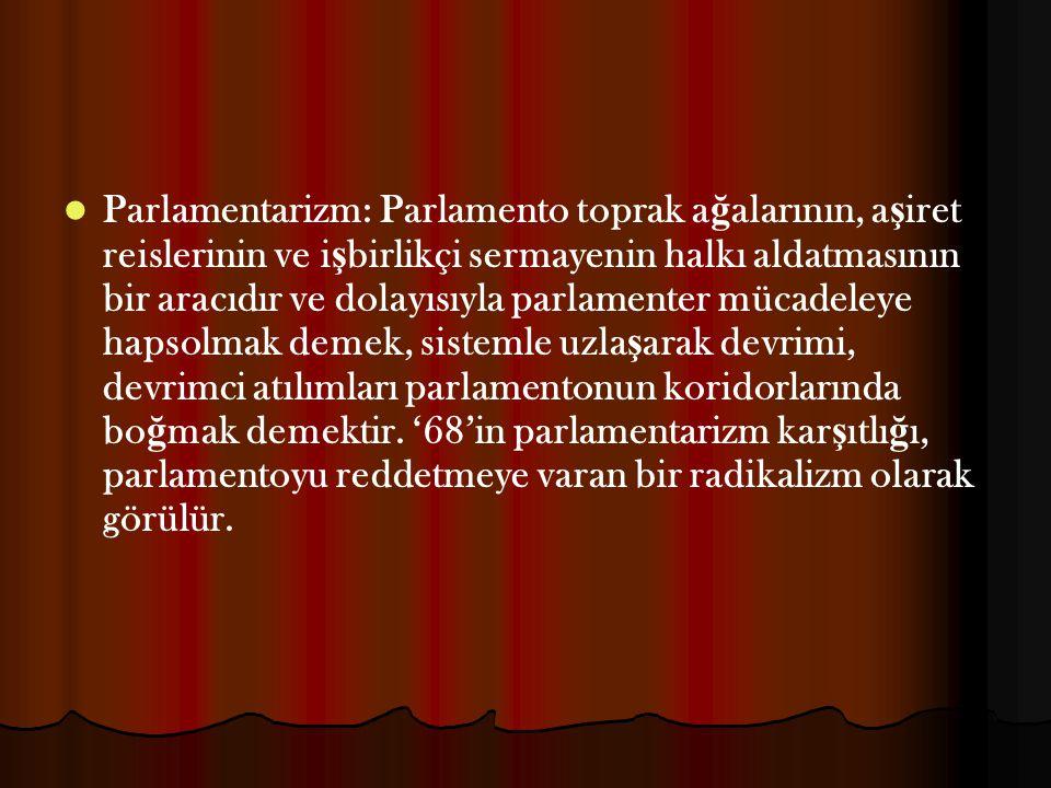 Parlamentarizm: Parlamento toprak ağalarının, aşiret reislerinin ve işbirlikçi sermayenin halkı aldatmasının bir aracıdır ve dolayısıyla parlamenter mücadeleye hapsolmak demek, sistemle uzlaşarak devrimi, devrimci atılımları parlamentonun koridorlarında boğmak demektir.