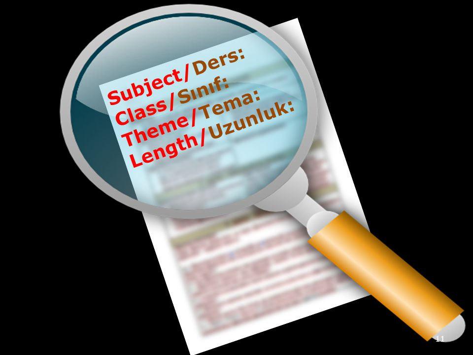 Subject/Ders: Class/Sınıf: Theme/Tema: Length/Uzunluk: