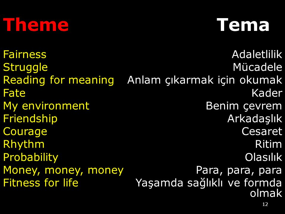 Theme Tema. Fairness Struggle Reading for meaning Fate My environment Friendship Courage Rhythm Probability Money, money, money Fitness for life
