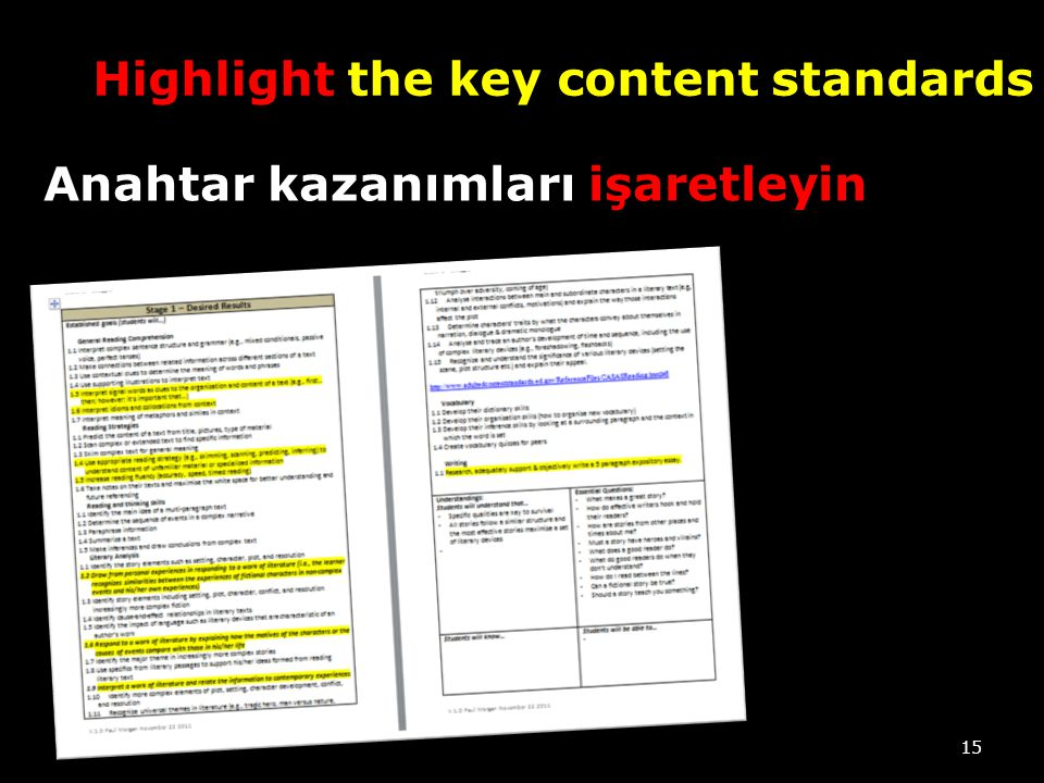 Highlight the key content standards