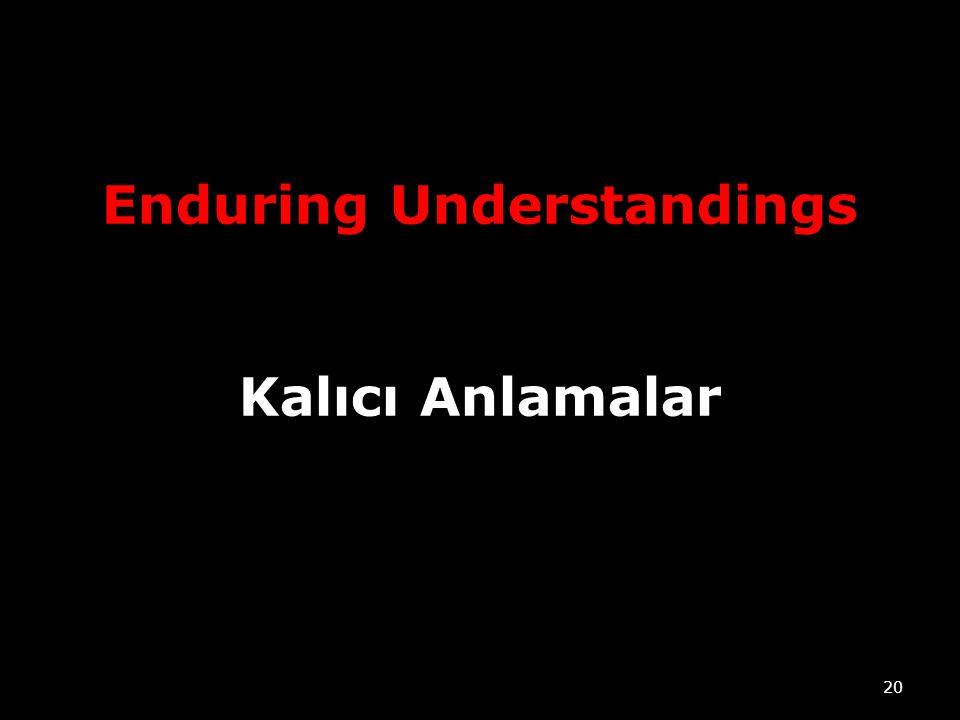 Enduring Understandings Kalıcı Anlamalar