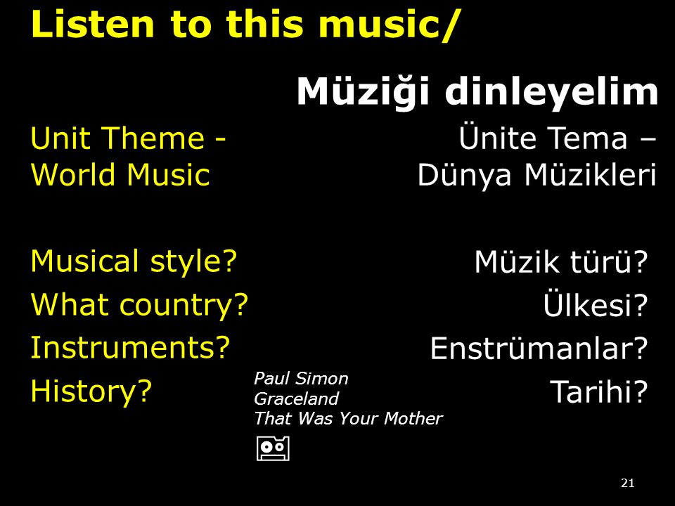 Listen to this music/ Müziği dinleyelim Unit Theme -World Music