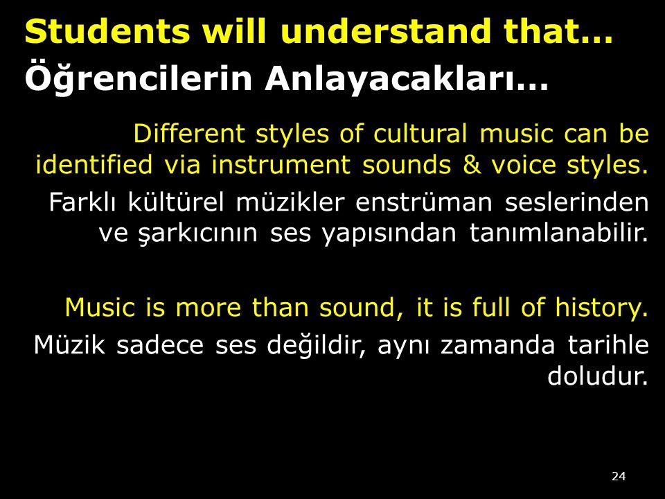 Students will understand that… Öğrencilerin Anlayacakları…