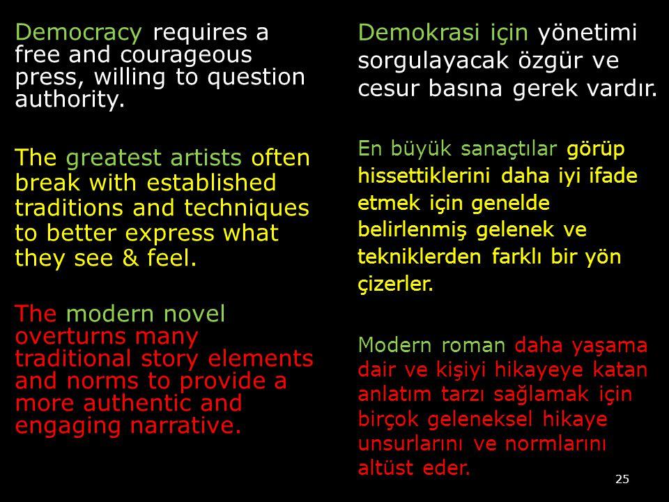 Demokrasi için yönetimi sorgulayacak özgür ve cesur basına gerek vardır.