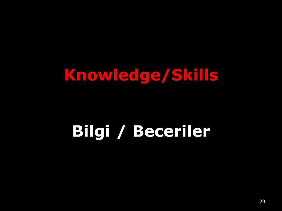 Knowledge/Skills Bilgi / Beceriler