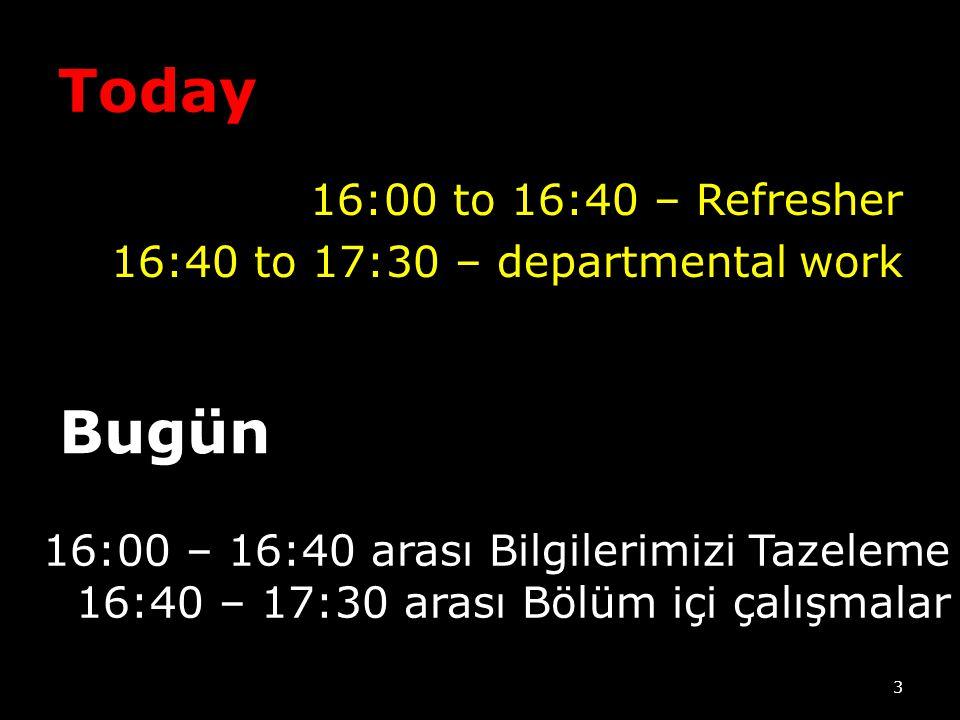 Today 16:00 to 16:40 – Refresher 16:40 to 17:30 – departmental work Bugün. 16:00 – 16:40 arası Bilgilerimizi Tazeleme.