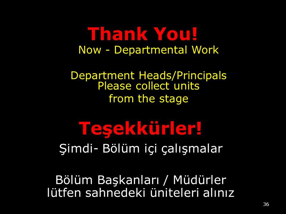 Thank You! Teşekkürler! Şimdi- Bölüm içi çalışmalar