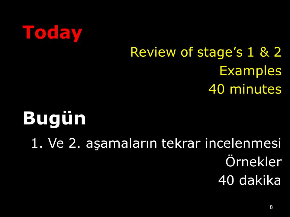 Today Bugün Review of stage's 1 & 2 Examples 40 minutes