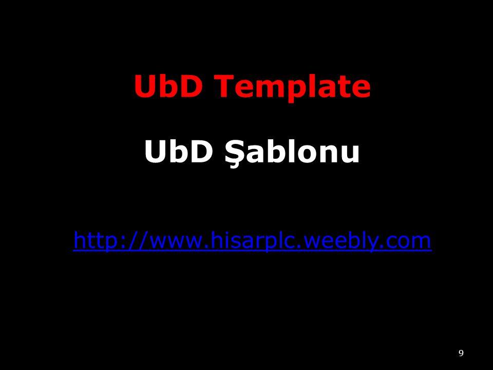 UbD Template UbD Şablonu