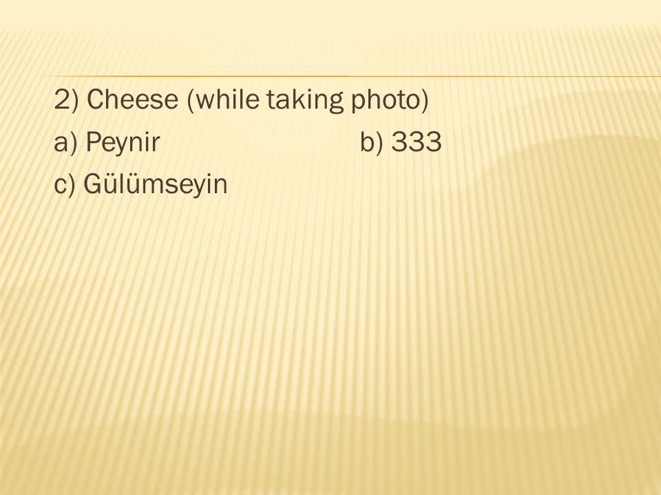 2) Cheese (while taking photo) a) Peynir b) 333 c) Gülümseyin