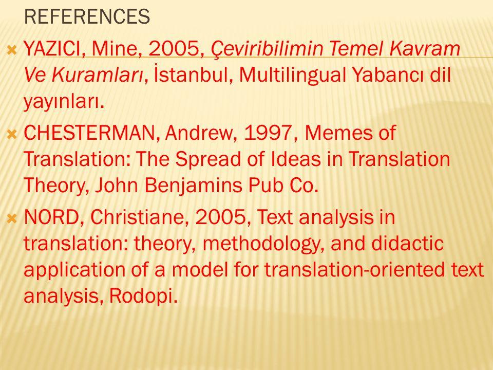 REFERENCES YAZICI, Mine, 2005, Çeviribilimin Temel Kavram Ve Kuramları, İstanbul, Multilingual Yabancı dil yayınları.