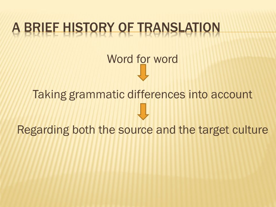 A brief history of translation