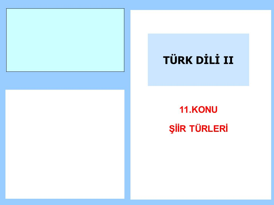 TÜRK DİLİ II 11.KONU ŞİİR TÜRLERİ