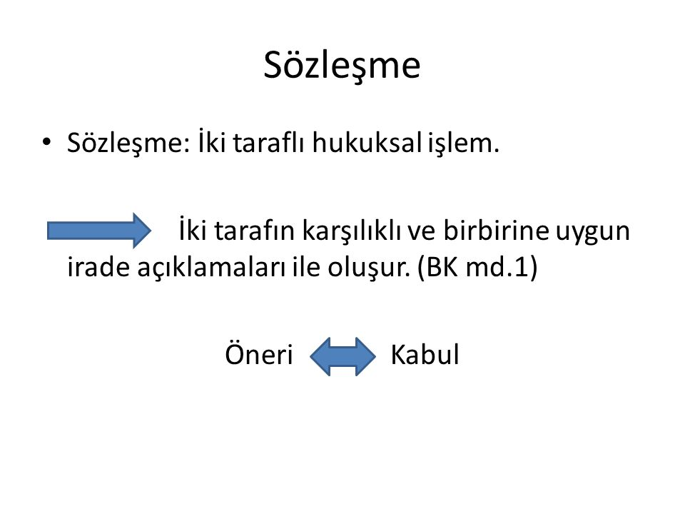 Sözleşme Sözleşme: İki taraflı hukuksal işlem.