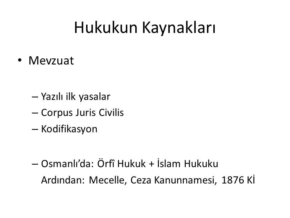 Hukukun Kaynakları Mevzuat Yazılı ilk yasalar Corpus Juris Civilis