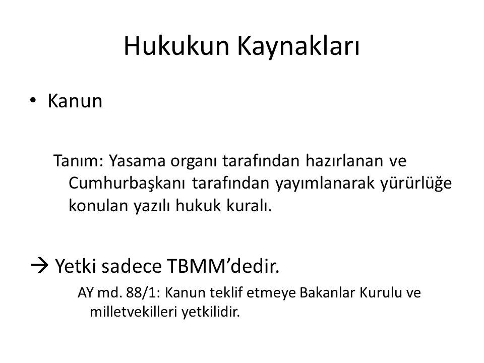 Hukukun Kaynakları Kanun  Yetki sadece TBMM'dedir.